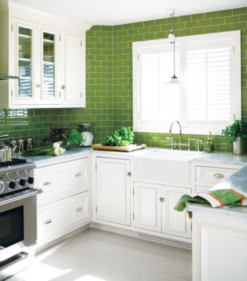 Kitchens design ideas with green walls 32
