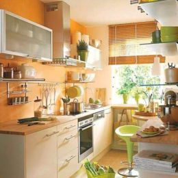 Kitchens design ideas with green walls 38