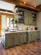 Kitchens design ideas with green walls 47