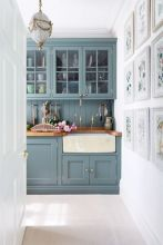 Kitchens design ideas with green walls 50