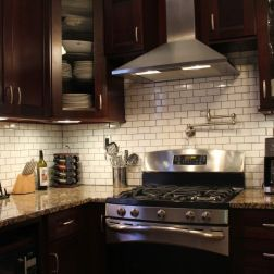 Stylish dark brown cabinets kitchen 06