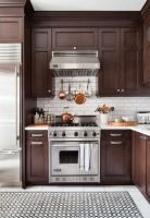 Stylish dark brown cabinets kitchen 11