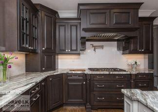 Stylish dark brown cabinets kitchen 12