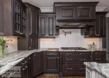 Stylish dark brown cabinets kitchen 12