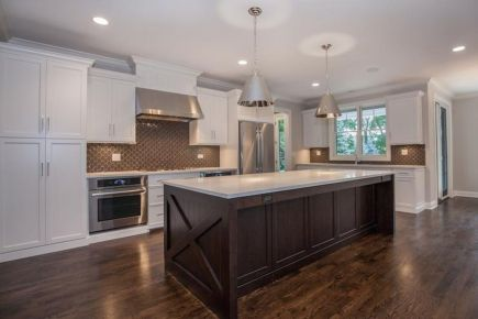 Stylish dark brown cabinets kitchen 21