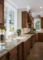 Stylish dark brown cabinets kitchen 23