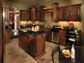 Stylish dark brown cabinets kitchen 26