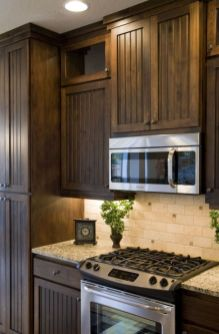 Stylish dark brown cabinets kitchen 27
