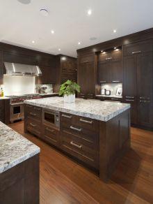 Stylish dark brown cabinets kitchen 29