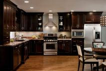 Stylish dark brown cabinets kitchen 31