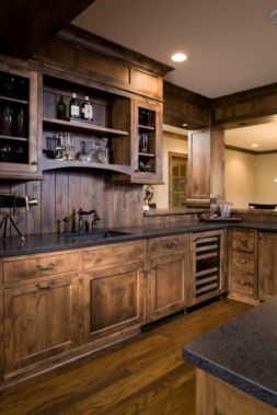 Stylish dark brown cabinets kitchen 39