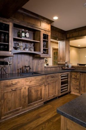 Stylish dark brown cabinets kitchen 39