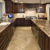 Stylish dark brown cabinets kitchen 41