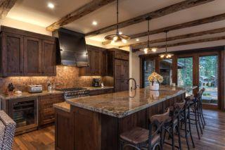 Stylish dark brown cabinets kitchen 48