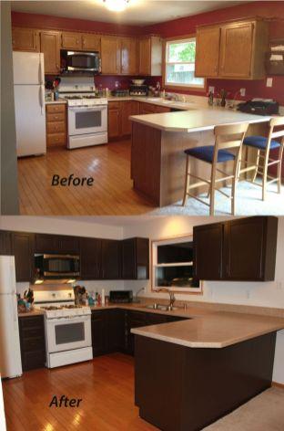 Stylish dark brown cabinets kitchen 49
