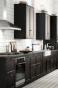 Stylish dark brown cabinets kitchen 52