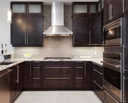 Stylish dark brown cabinets kitchen 58