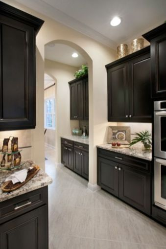 Stylish dark brown cabinets kitchen 61