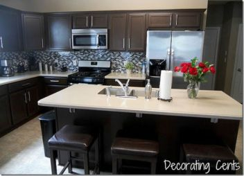 Stylish dark brown cabinets kitchen 62