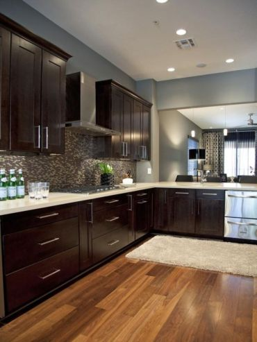 Stylish dark brown cabinets kitchen 64