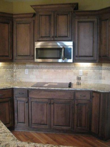 Stylish dark brown cabinets kitchen 67