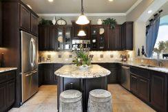 Stylish dark brown cabinets kitchen 70