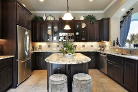 Stylish dark brown cabinets kitchen 70