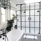 Stylish white subway tile bathroom 20