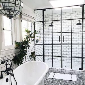 Stylish white subway tile bathroom 20