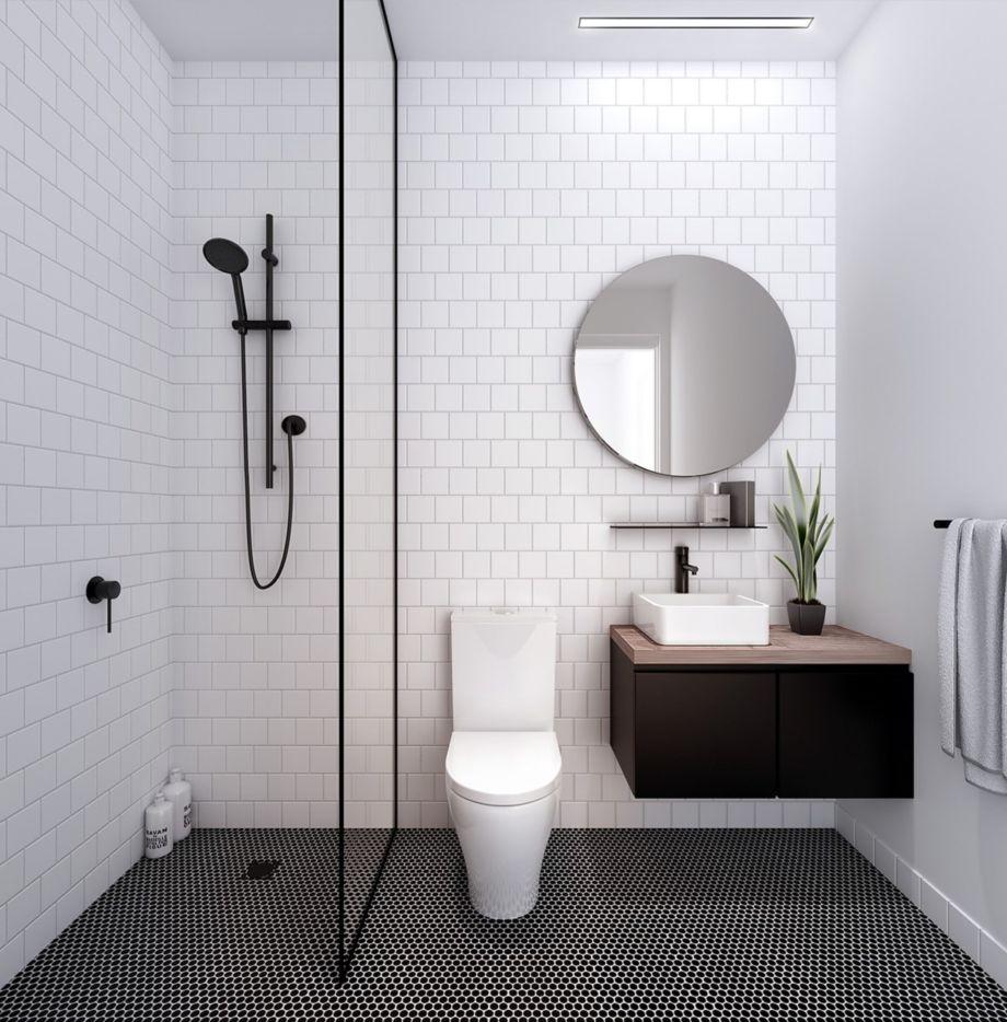 Stylish white subway tile bathroom 23 - Round Decor