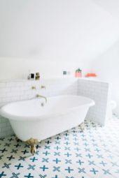 Stylish white subway tile bathroom 35