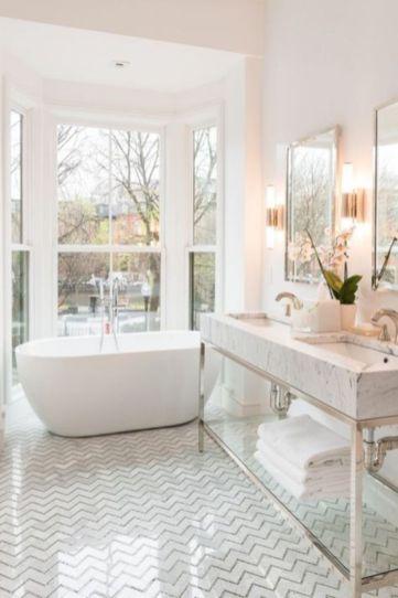Stylish white subway tile bathroom 38