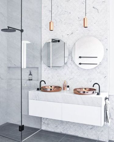 Stylish white subway tile bathroom 47