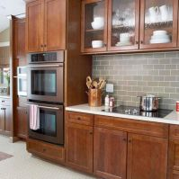 Wood and glass kitchen cabinets 17