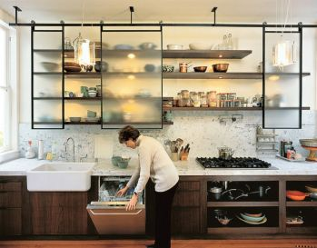 Wood and glass kitchen cabinets 22