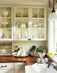 Wood and glass kitchen cabinets 30