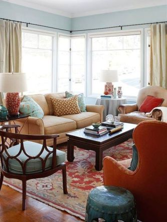 53 adorable burnt orange and teal living room ideas round decor