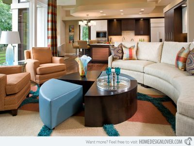Adorable burnt orange and teal living room ideas 11