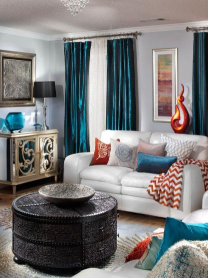 Adorable burnt orange and teal living room ideas 16
