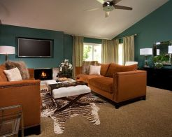 Adorable burnt orange and teal living room ideas 18