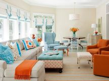 Adorable burnt orange and teal living room ideas 19