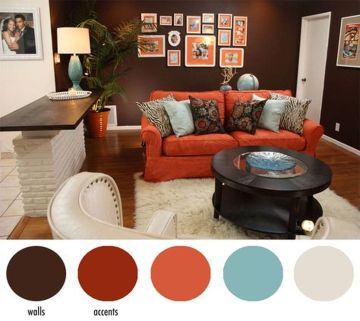 Adorable burnt orange and teal living room ideas 34