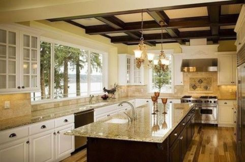 Amazing cream and dark wood kitchens ideas 08