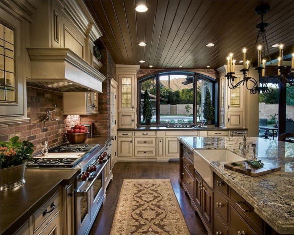 80 Amazing Cream And Dark Wood Kitchens Ideas - ROUNDECOR