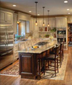 Amazing cream and dark wood kitchens ideas 19