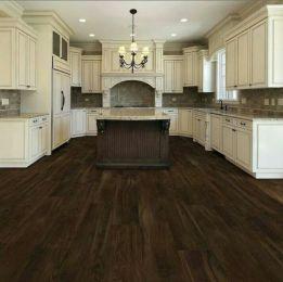 Amazing cream and dark wood kitchens ideas 31