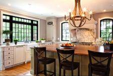 Amazing cream and dark wood kitchens ideas 46