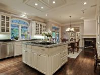Amazing cream and dark wood kitchens ideas 55