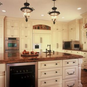 Amazing cream and dark wood kitchens ideas 65