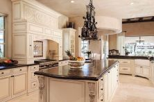 Amazing cream and dark wood kitchens ideas 67